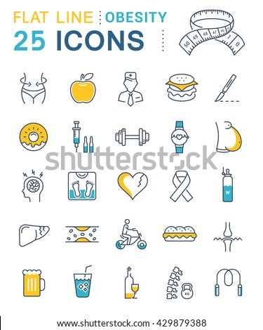 Set vector line icons in flat design obesity, junk food and health with elements for mobile concepts and web apps. Collection modern infographic logo and pictogram.