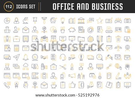 Set vector line icons in flat design office and business with elements for mobile concepts and web apps. Collection modern infographic logo and pictogram.