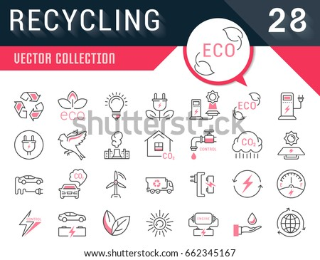 Set vector line icons in flat design recycling, eco, bio, clean energy, save water and world with elements for mobile concepts and web apps. Collection modern infographic logo and pictogram.