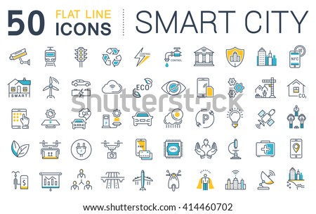 Set vector line icons in flat design smart city and technology with elements for mobile concepts and web apps. Collection modern infographic logo and pictogram.