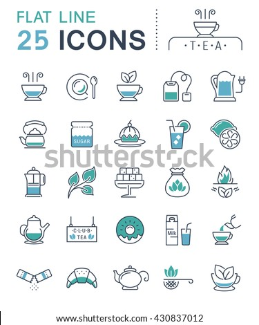 Set vector line icons in flat design tea and breakfast with elements for mobile concepts and web apps. Collection modern infographic logo and pictogram.