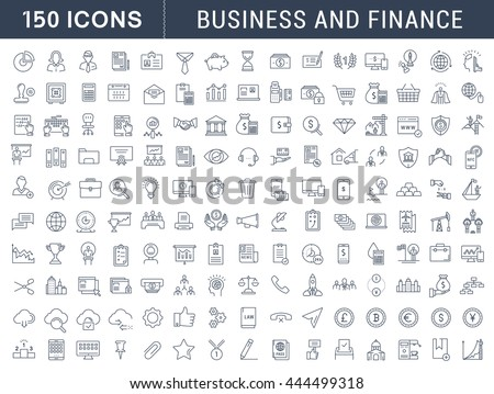 Set vector line icons in flat design with elements for mobile concepts and web apps. Collection modern infographic logo and pictogram. - Shutterstock ID 444499318