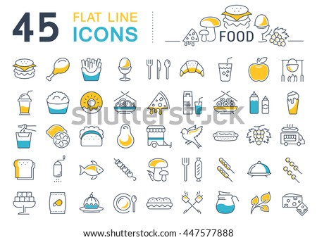 Set vector line icons meal and fast food in flat design with elements for mobile concepts and web. Collection modern infographic logo and pictogram.