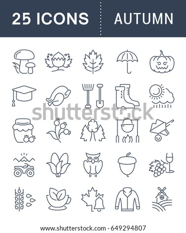 Set vector line icons, sign and symbols in flat design autumn with elements for mobile concepts and web apps. Collection modern infographic logo and pictogram.
