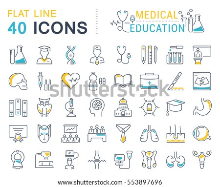 Set vector line icons, sign and symbols in flat design medical education with elements for mobile concepts and web apps. Collection modern infographic logo and pictogram.