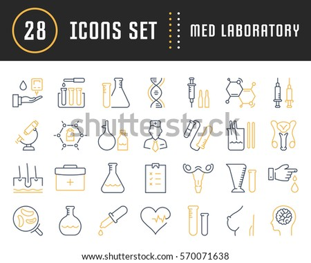 Set vector line icons, sign and symbols in flat design medical laboratory with elements for mobile concepts and web apps. Collection modern infographic logo and pictogram.