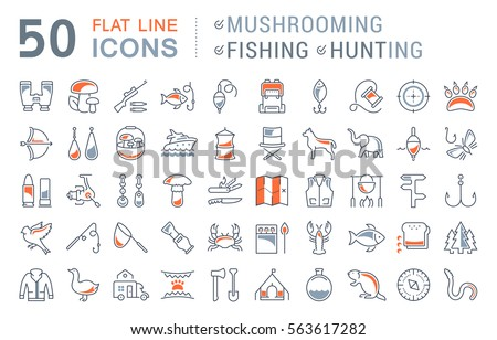 Set vector line icons, sign and symbols in flat design mushrooming, fishing and hunting with elements for mobile concepts and web apps. Collection modern infographic logo and pictogram.