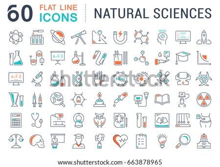Set vector line icons, sign and symbols in flat design of natural history with elements for mobile concepts and web apps. Collection modern infographic logo and pictogram.