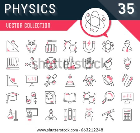 Set vector line icons, sign and symbols in flat design physic with elements for mobile concepts and web apps. Collection modern infographic logo and pictogram.