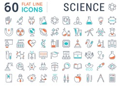 Set vector line icons, sign and symbols in flat design science with elements for mobile concepts and web apps. Collection modern infographic logo and pictogram.