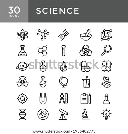 Set vector line icons, sign and symbols science with elements for mobile concepts and web apps, set of atom line Flask, Energy, Atom, Radioactive, Positive ion, Molecule, Physics, Proteins
