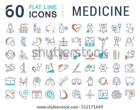 Set vector line icons, sign in flat design medicine, pharmacology, oncology, blood count, medical ethics with elements for mobile concepts and web app. Collection modern infographic logo or pictogram.