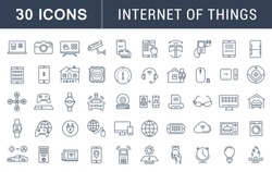 Set vector line icons with open path internet of things and smart gadgets with elements for mobile concepts and web apps. Collection modern infographic logo and pictogram