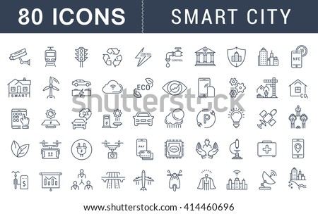 set vector line icons with open