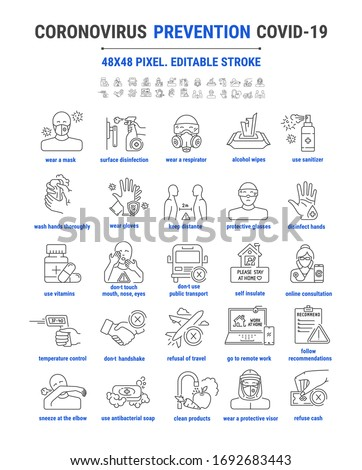 Set vector line, outline design icons. Coronovirus protection measures, precautions, prevention. Precautionary measures. Medical advice. Editable stroke. 48x48 pixel perfect.  Symbol, sign.