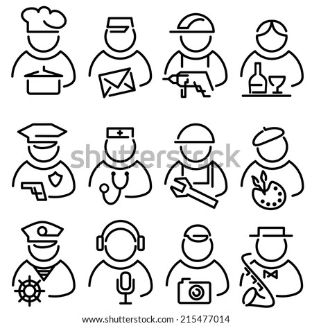 set vector lines icons for people profession avatars