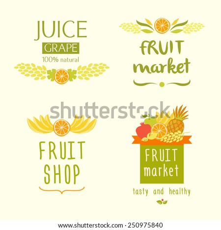 Set vector logo for a store of fruits fruit juice labels Guaranteed quality and fresh fruit Juice label