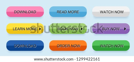 Set vector modern trendy buttons isolated. Colored rectangular buttons in different States. Simple, mouse over, button pressed. Flat style.