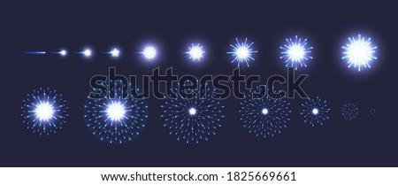 Set vector of blue fireworks explode effect on dark blue background. Collection of firecracker light for animation, game, anniversary, New year, festive celebration, carnival. Vector illustration. stock photo