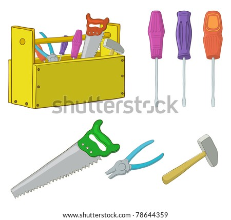 Set vector operating tools: hammers, saws, pliers, screwdrivers and wooden box
