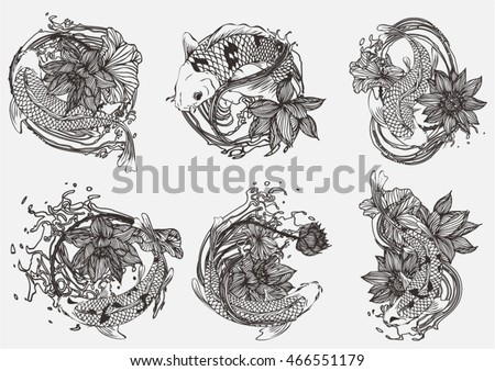 set vector painting lotus and...