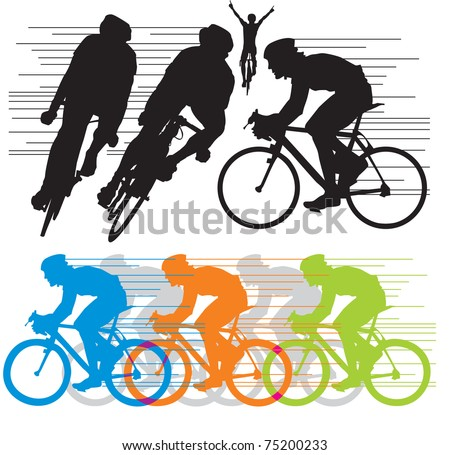 set vector silhouettes cyclists