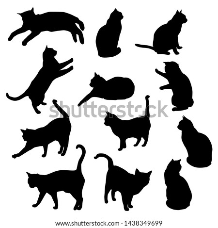 set vector silhouettes of the