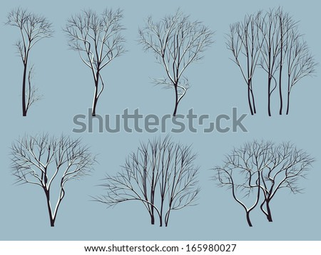 set vector silhouettes of trees
