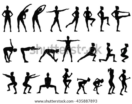 Set vector silhouettes of young woman doing sport exercises in standing position. Fitness workout icon. Slim sportive girl black profile isolated on white background. Healthy life style.