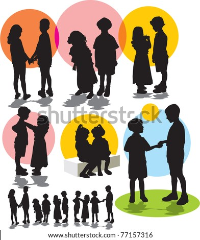 set vector silhouettes with children