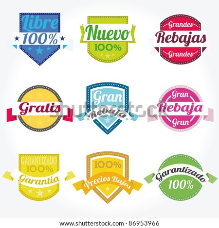 Set vector spanish Premium high Quality sales free Labels with retro design