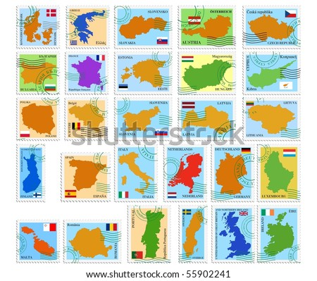 Set vector stamps of European Union