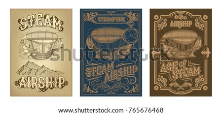 set vector steampunk posters