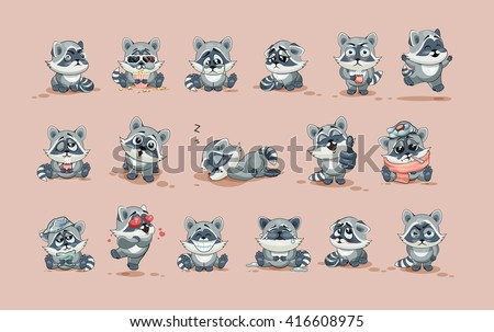 Set Vector Stock Illustration isolated Emoji character cartoon Raccoon cub sticker emoticons with different emotion for site, info graphic, video, animation, website, e-mail, newsletter, report, comic