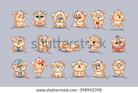 Set Vector Stock Illustrations isolated Emoji character cartoon dog stickers emoticons with different emotions