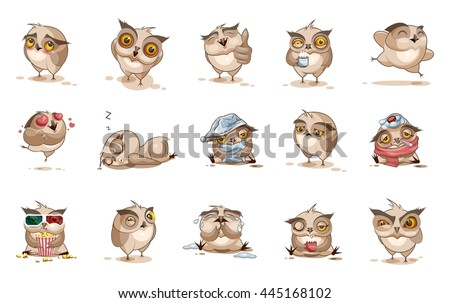 Set Vector Stock Illustrations isolated Emoji character cartoon owl stickers emoticons with different emotions for site, infographics, video, animation, websites, e-mails, newsletters, reports, comics