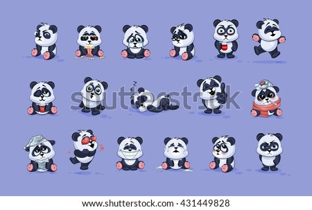 Set Vector Stock Illustrations isolated Emoji character cartoon Panda stickers emoticons with different emotions for site, info graphic, video, animation, websites, e-mails, newsletters, report, comic