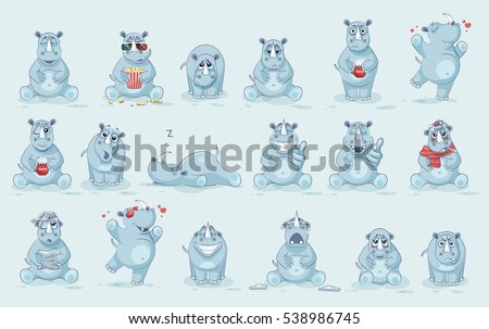 Set Vector Stock Illustrations isolated emoji character cartoon rhinoceros stickers emoticons with different emotions for site, info graphics, video, animation, website, newsletter, reports, comics