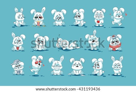 Set Vector Stock Illustrations isolated Emoji character cartoon White leveret stickers emoticons with different emotions, site, info graphic, video, animation, website, mail, newsletter, report, comic