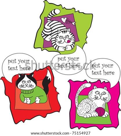 set vector talking cats
