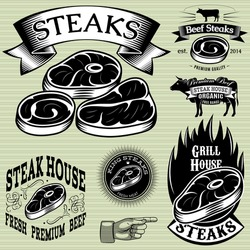 set vector template for grilling, barbecue, steak house, menu