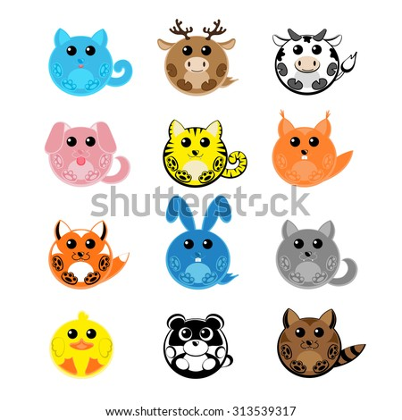 Set vector twelve design elements  funny pets: cat, deer, cow, dog, tiger, wolf, fox, squirrel, raccoon, rabbit, duck, panda isolated on white background