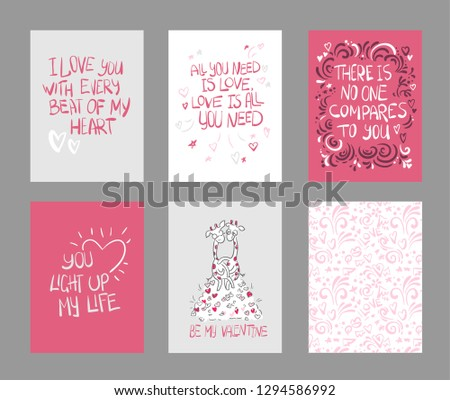 set vector valentines day cards pink color #1294586992