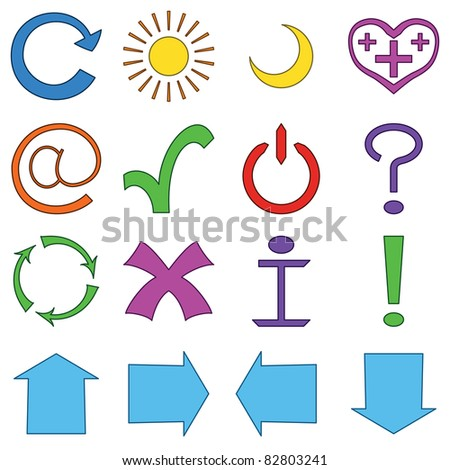 Set vector various icons: computer signs and button