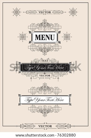 set vector victorian frames and ornaments