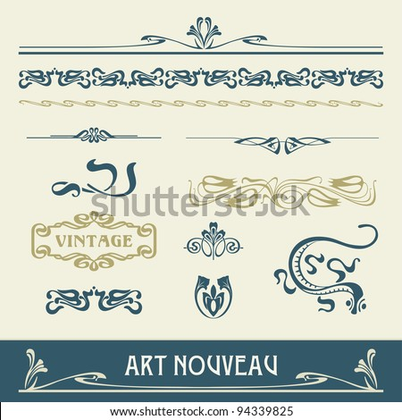 Set vectors art nouveau - lots of useful elements to embellish your layout