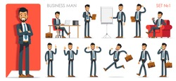 Set version №1 of businessman character with different poses and actions. Vector illustration flat design isolated on white background