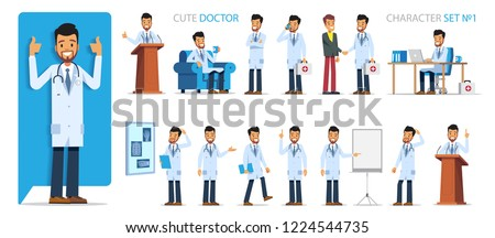 Set version №1 of doctor character in different poses and situations. Flat style vector illustration isolated on white background.