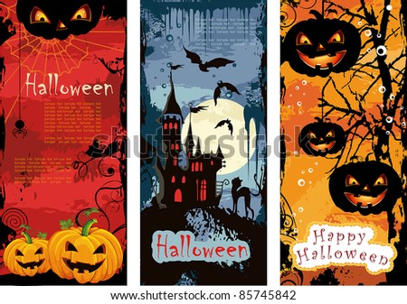 Set vertical Halloween banners