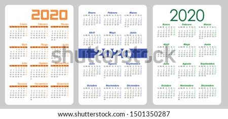 Set Vertical pocket calendar, 2020 year on Spanish. Week starts from Monday. Vector template calendar for business on black background.  Foto stock ©